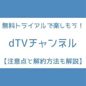 dTVチャンネル 無料期間